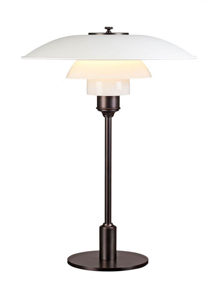 PH 3 1/2-2 1/2 bordlampe - hvit/brunert