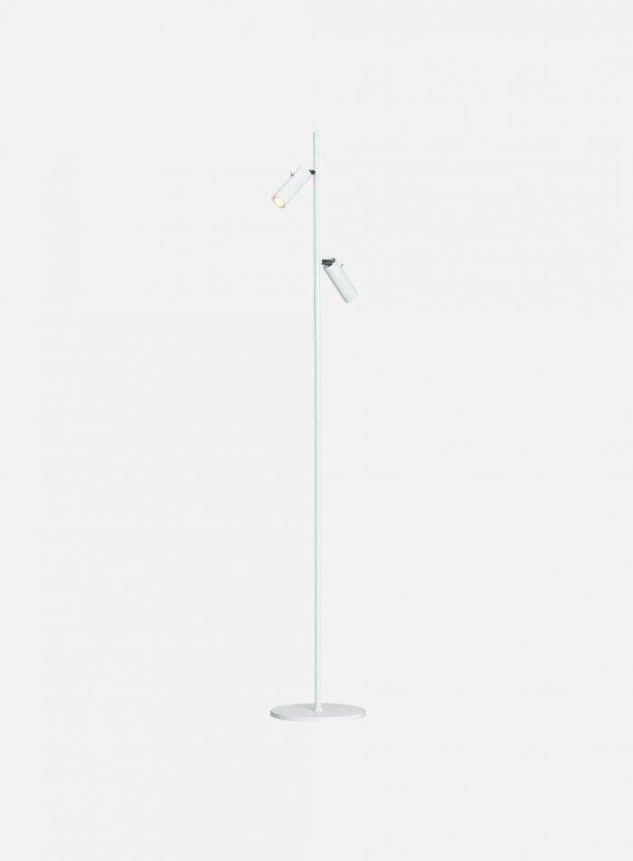 Cato slim gulvlampe 2 lys - matt hvit