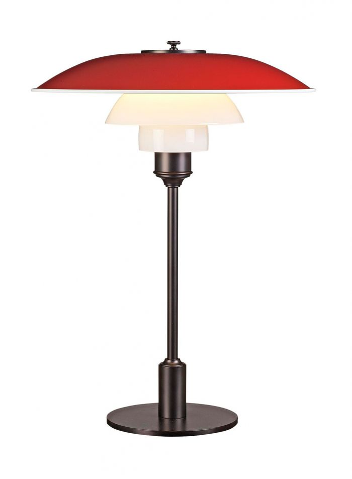 PH 3 1/2-2 1/2 bordlampe - rød/brunert
