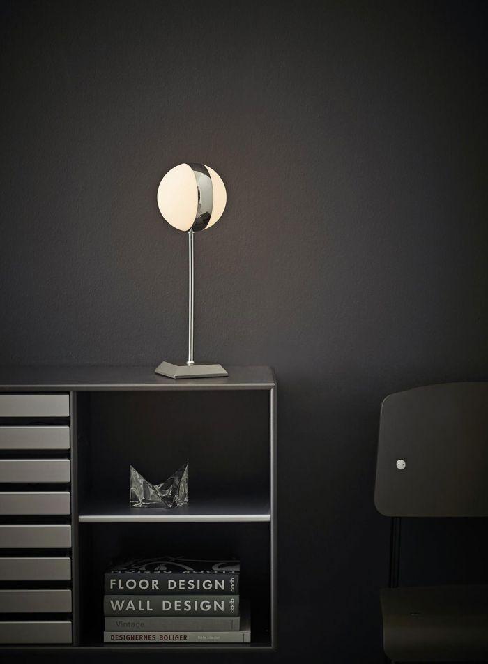 Circle LED bordlampe - krom/hvit