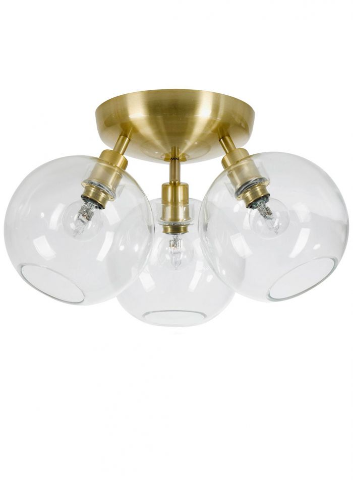 Gloria taklampe 3 lys - børstet messing/klar