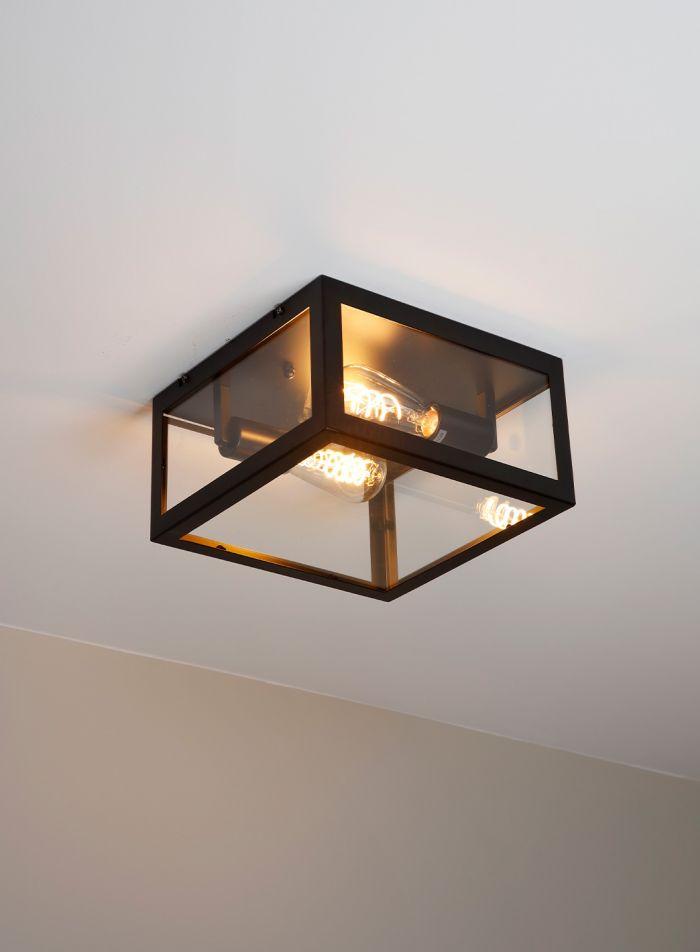 Dovre taklampe plafond 28x28 - sort/klar