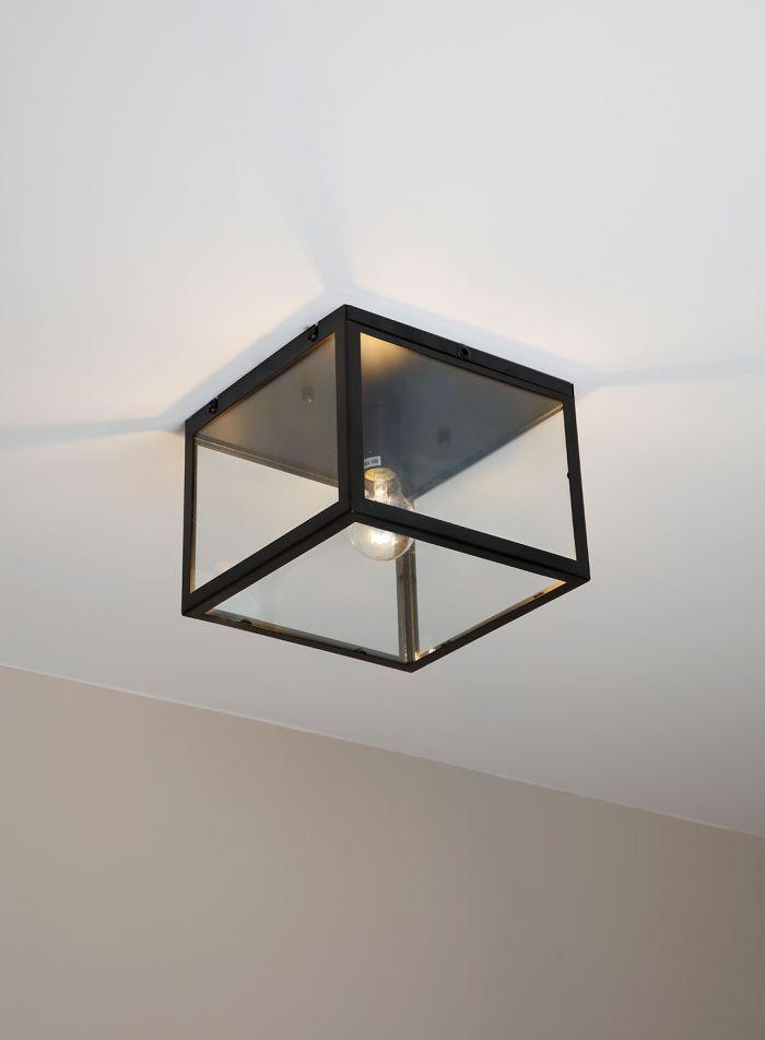 Dovre taklampe plafond 25x25 - sort/klar