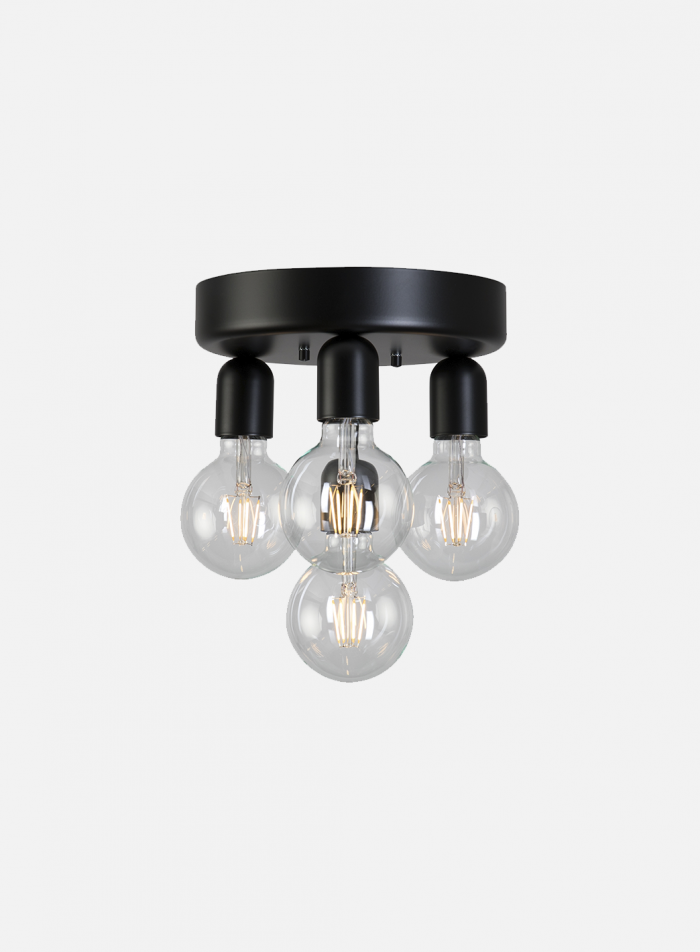 Regal taklampe 4 lys - sort