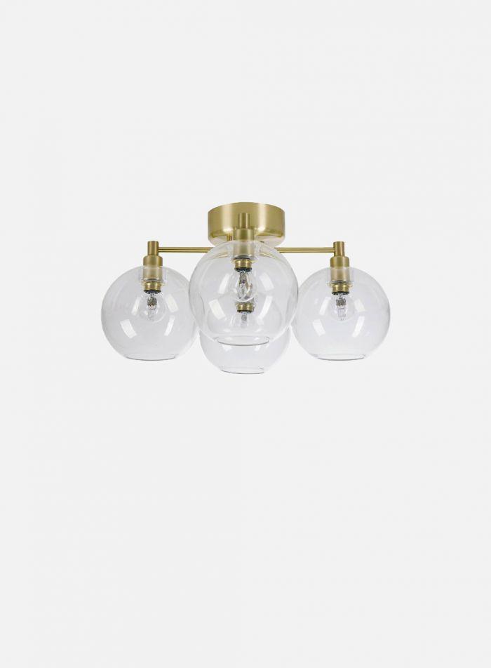 Gloria taklampe 4 lys - børstet messing/klar