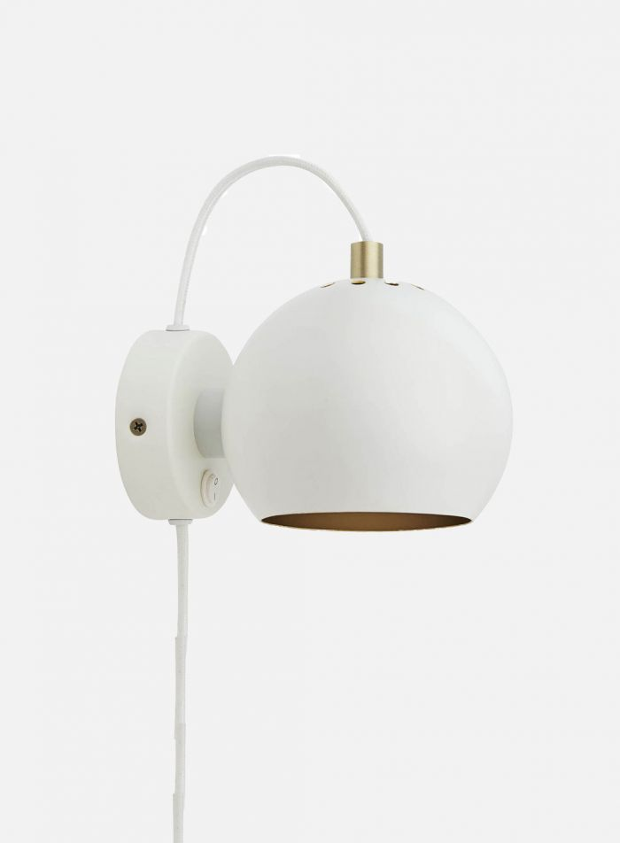 Ball vegglampe - hvit/gull