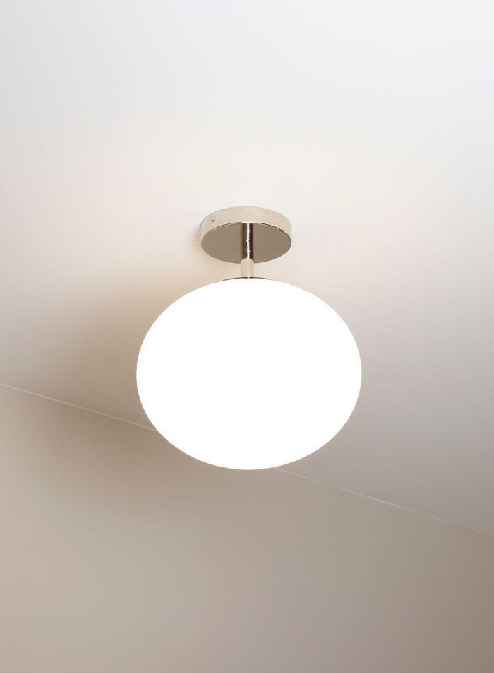 Glos taklampe - hvit/ krom