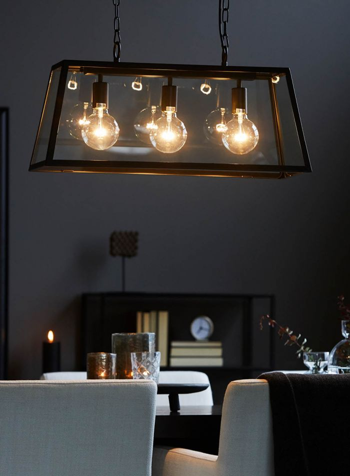 Dovre taklampe 3 lys - sort/klar