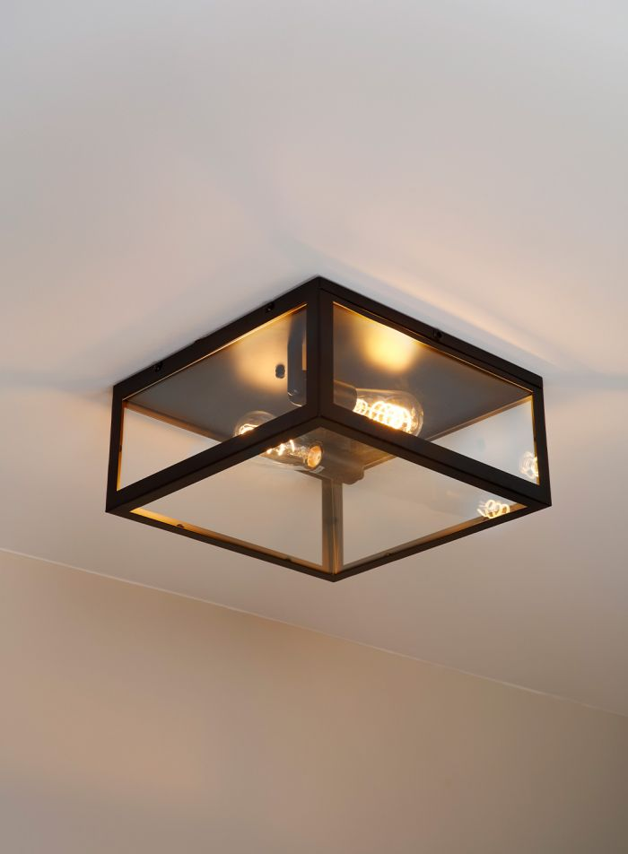 Dovre taklampe plafond 36x36 - sort/klar