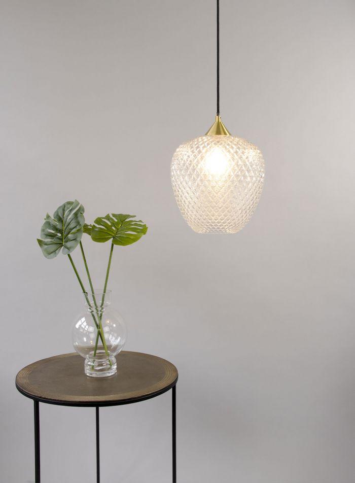 Oriso taklampe - glass/matt messing