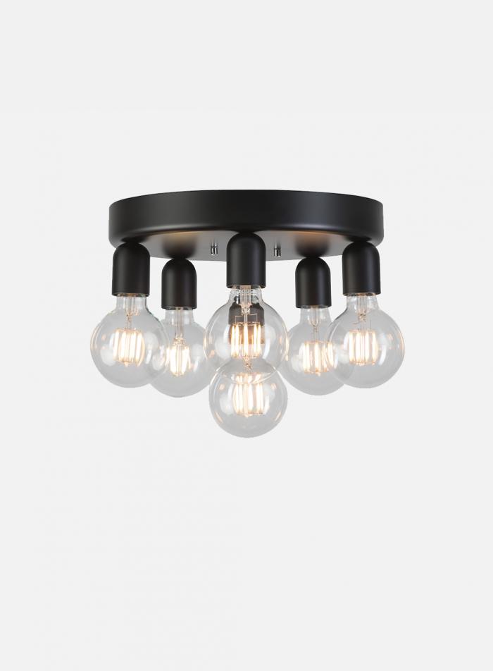 Regal taklampe 6 lys - sort